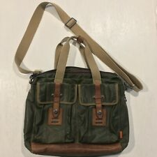 Fossil Leather Waxed Canvas Messenger Crossbody Laptop Flap Bag Green Brown