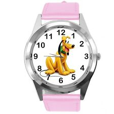 PLUTO DOG FILM CARTOON MICKY MOUSE FRIEND CD DVD TV GAME PINK LEATHER WATCH