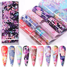 10Pcs/Set Flowers Nail Foils Colorful Foil Nail Art Transfer Stickers Decal Tips