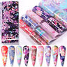 10Pcs/Set Flowers Nail Foils Pink Colorful Foil Nail Art Transfer Stickers Decal