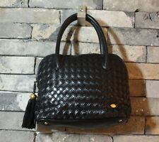 Auth VTG BALLY gold logo black Embossing Leather classic tote Bag made in italy
