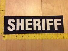 "Sheriff Patch - 4"" X 6"" On Hook Backing, White On Black (item 1078)"