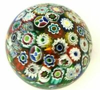 "MILLEFIORI Murano 3 1/2"" Concentric Art Glass Closepack Paperweight"