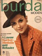 Vintage BURDA Sewing Magazine 60 Patterns Aug 1967 Mod Dresses Classic Suits