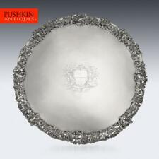 More details for antique 18thc georgian solid silver salver tray, arthur annesley c.1760