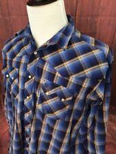 Vtg Wrangler Pearl Snap Flannel Western Shirt Cowboy XL Mens Rockabilly  A219