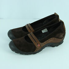 Merrell Plaza Bandeau Shoes Womens Size 8 Brown Suede Leather Mary Janes Wedges