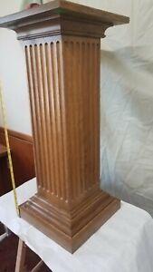 Beautiful quarter'd  White oak Square column Fluted plantstand/pedestal table