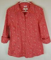 Talbots Women's Blouse Orange White Print Button Down Top 3/4 Sleeve Size M