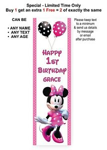MINNIE MOUSE Party Banner Sign, 1st Birthday Vertical Personalised Disney, Pink