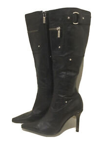 Women's Sachi  'Rocka' Black Leather Buckle Tall Pointed Boots size 35.5/5.5