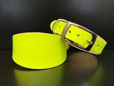 EXTRA SMALL Leather Dog Collar Greyhound Whippet Saluki FLUORESCENT YELLOW