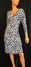Ralph Lauren Essentials Womans Dress Size 12 Gray White Polo RL V Neck NWT