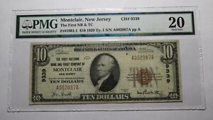 $10 1929 Montclair New Jersey NJ National Currency Bank Note Bill #9339 VF20 PMG