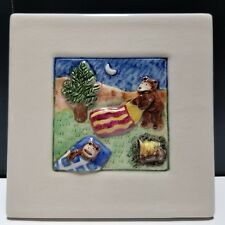 """Laura Wilensky 4x4"""" Wall Tile / Plaque 2002 Limited Edition Camping Bears 40/100"""