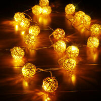 20 LED String Light Fairy Lamp Wedding Party Curtain Rattan Ball Xmas Decor 2.2m