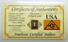 One (1) Grain Pure 24k Solid Gold Bar Ingot Bullion with COA - ACB Minted V262
