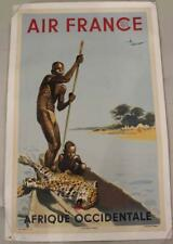 Vintage Travel Poster Air France Afrique Occidentale by Artist A. Brenet 1949