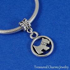 Silver SCOTTISH TERRIER Dangle Bead CHARM Scottie Dog fits EUROPEAN Bracelet