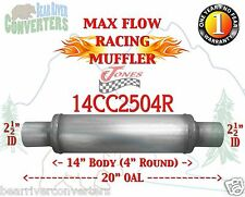 "Max Flow Muffler 14"" Round Body 2 1/2"" 2.5"" Pipe Center/Center 20"" OAL 14CC2504R"