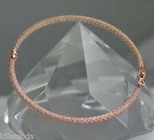 ITALIAN Beauty Solid 14K Pink Rose MESH Gold Bangle Bracelet 4.3g Retail $995