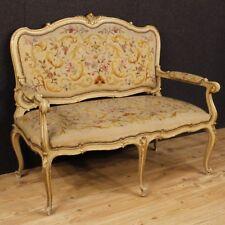 Divano laccato mobile italiano in legno dorato salotto stile antico Luigi XV