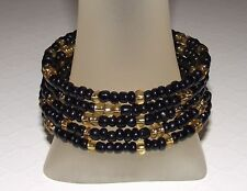 BLACK and GOLD SHIMMER Glass Beaded Wrap / COIL / Bangle Bracelet USA Made /ship