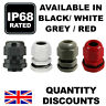 BLACK GREY WHITE WATERPROOF IP68 WATERPROOF COMPRESSION CABLE GLAND M12 M16 M20