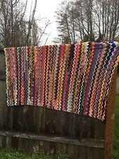 "Large Vintage Afghan Multi Crochet Colorful 87""x 65"" Blanket Throw Unique"