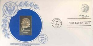 UNITED STATES 1978 COMMEMORATIVE GOLD REPLICA LOT OF 14 FIRST DAY COVERS FOLDER
