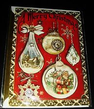 "Punch Studio 3-D Christmas Card, Envelope & Seal Red Ornament 64432 5"" x 7"""