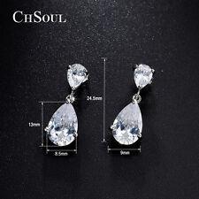 Sparkling Women Teardrop CZ Ear Drop Dangle Earrings Lady Silver Bridal Jewelry