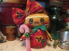 Primitive Gingerbread Holiday tea cup doll shelf sitter bowl filler ornie
