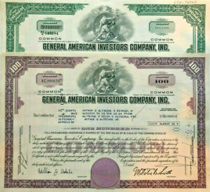 General American Investors > set of 2 old stock certificate share