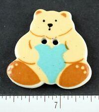 Older Lovely Ceramic Teddy Bear Holding Blue Heart Cute!