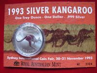 AUSTRALIA  1993  $1 Kangaroo - Coin Fair Issue.. 1oz  Silver Coin...UNC  in card