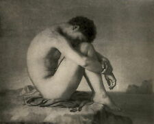 Antique FLANDRIN Old Vintage Art Print Naked Nude Young Man I HAVE A DREAM