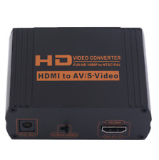 HDMI to AV RCA S-VIDEO Composite Audio Video Converter Box CVBS Adapter & Cable