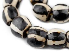 Watermelon Batik Bone Beads Sphere 23mm Kenya African Black and White Round