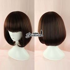 "Lolita Daily Bob Dark Brown Short 12"" Women Party Cosplay Wig Heat Resistant"