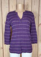 CROFT & BARROW Womens Size XL 3/4 Sleeve Shirt Purple Striped 100% Cotton Top