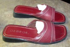 Women's GEORGE Red Size 7 1/2 Flat Slide Sandals