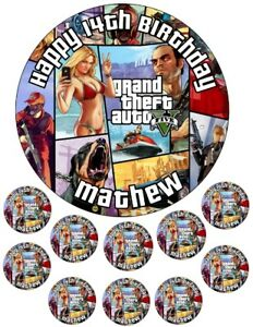 """GTA 5    6.5"""" round  and 10 Smaller 1.5""""   Edible Icing Cake Topper"""