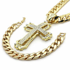 """Mens 14k Gold Plated Hollow Cross Iced Out 14mm30"""" Heavy Cuban Chain w/ Bracelet"""