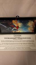 """1999 Star Trek Enterprise """"E"""" Beveled Glass Clock in Original Box!! (STMI500)"""