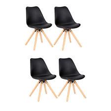 4 Chaises salle à manger avec Assise rembourrée en Similicuir et Plastique Noir