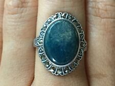 Beautiful Vintage Blue Gemstone Marcasite Ring Sterling Silver *Size 6.25* H113