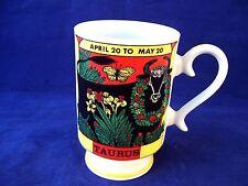 Vintage Royal Crown Zodiac Pedestal Coffee Mug Taurus Bull 1970's Retro