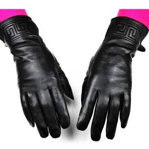 Women's Black Leather Gloves Embroidery Pattern Style Velvet Lining Warm Mitten