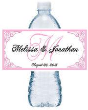 50 Personalized Blush Pink Monogram Wedding Favors Water Bottle Labels